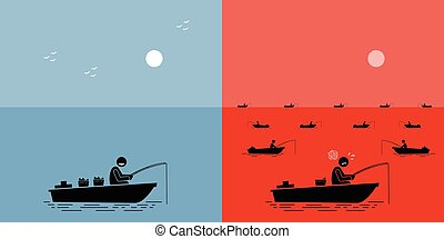 Blue Ocean Strategy vs Red Ocean Strategy. - Vector artwork...