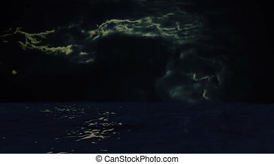 Blue Ocean View with stormy Clouds on the Horizon