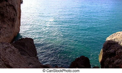 Blue ocean water at a bay