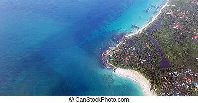 Blue ocean water in Caribbean island