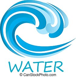 Blue ocean wave abstract icon with ornamental water swirl, isolated on white background with caption Water