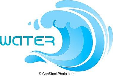Blue ocean wave or surf symbol