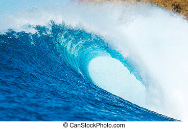 Ocean Wave - Blue Ocean Wave, View from in the Water a...