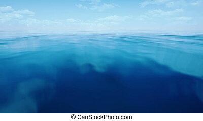 blue ocean with cloudy sky