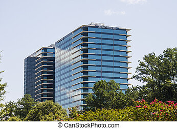Blue Office Buildings with White Trim