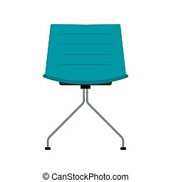 Blue office chair vector flat icon front view. Comfortable relaxation sign interior furniture equipment nobody