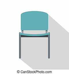Blue office metal chair icon, flat style