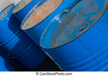Blue oil barrels (2)