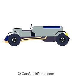 Blue old car flat illustration on white