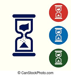 Blue Old hourglass with flowing sand icon isolated on white background. Sand clock sign. Business and time management concept. Vector Illustration