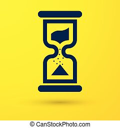 Blue Old hourglass with flowing sand icon isolated on yellow background. Sand clock sign. Business and time management concept. Vector Illustration