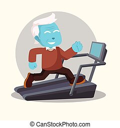 blue old man fit running with treadmill