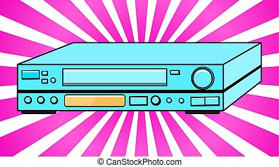 Blue Old Vintage Volumetric Retro Hipster Antique VCR for videocassettes for watching movies, videos from the 80's, 90's against the background of purple rays. Vector illustration.
