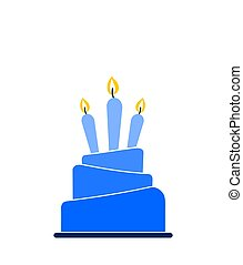 Blue ombre layered cake icon with three lit candles isolated on white background
