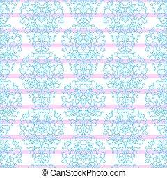 Blue on pink stripes elegant border in damask retro style.