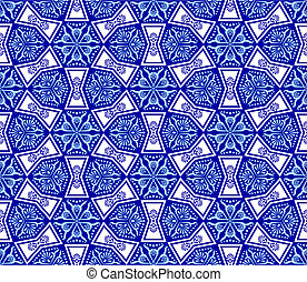 Blue on white seamless arabesque - Seamless pattern inspired...