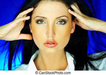 Blue one - Portrait of beautiful woman wearing white shirt