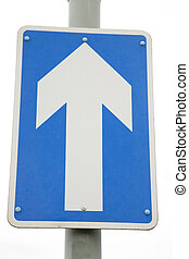 Blue One Way Arrow Sign on White Background