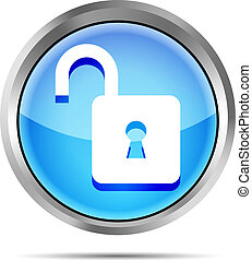 blue open padlock icon on a white