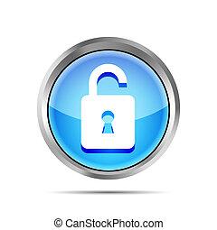 blue open padlock icon on a white background