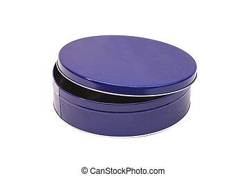 Blue Open Round Metal Box