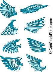 Blue open wings symbols for tattoo design - Open bird wings...