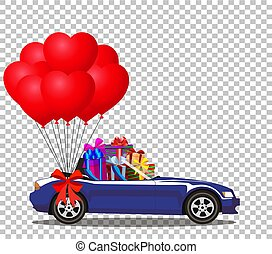 blue opened cabriolet car full of gifts with balloons