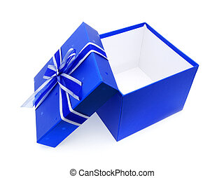 Blue opened gift box