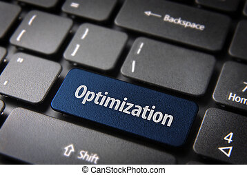 Blue Optimization keyboard key, business background - Blue...