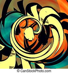 Blue orange abstract art. Curl.