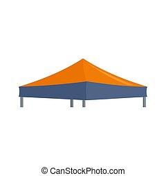 Blue orange big tent icon, flat style