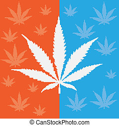 Cannabis leave on the blue and orange background.