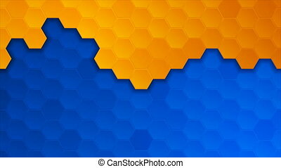 Blue orange geometric hexagons abstract technology motion background