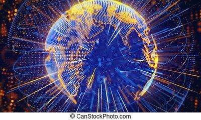 blue orange globe spinning loop
