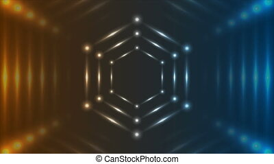 Blue orange glowing neon tech hexagons abstract motion background