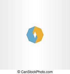 blue orange octagon logo icon vector abstract