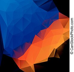 blue orange polygonal abstract