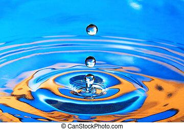 Blue- Orange Water Drop Splashing with Waves