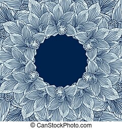 Blue orchid flower frame