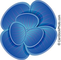 Blue orchid icon, cartoon style