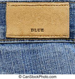 """blue"", ord, denim, etikett"