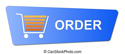 Blue order button with a shopping cart on white background.