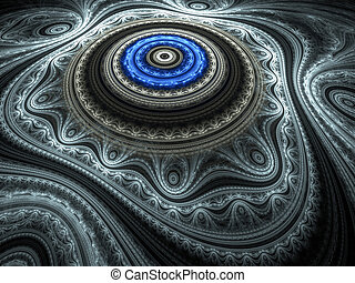 Blue Oriental Rug - Beautiful blue fractal render...