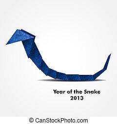 Blue origami snake