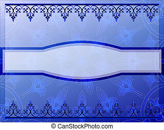 Blue ornamental banner - Ornamental blue banner vector...