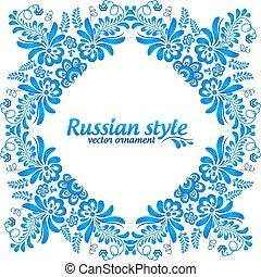 Blue ornamental floral frame in gzhel style