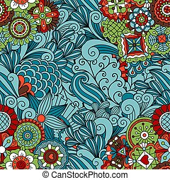 Blue ornamental floral pattern design