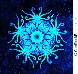 blue ornamental mandala on abstract structured background.