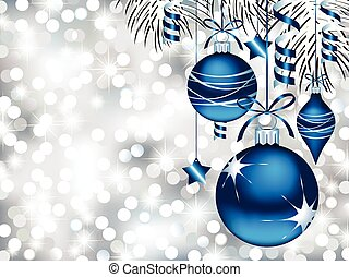 Vector illustration of three Christmas ornaments hanging in front of defocused light and pine branches.