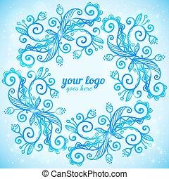 Blue ornate doodle vector frame